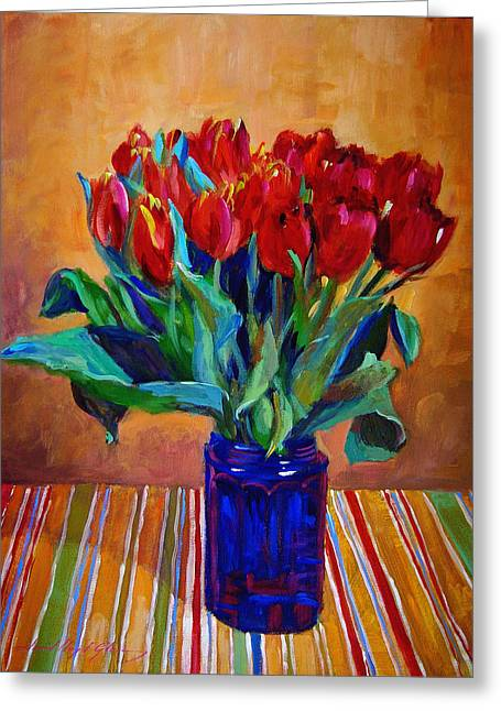 Tulips In Blue Glass Greeting Card by David Lloyd Glover