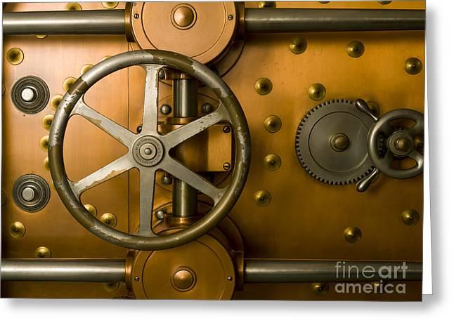Tumbler Bank Vault Door Greeting Card by Adam Crowley