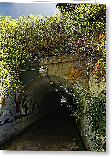 Tunnel At Crystal Cove Greeting Card by Ron Regalado