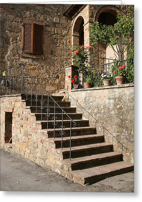 Tuscan Cottage Greeting Card by Donna Corless
