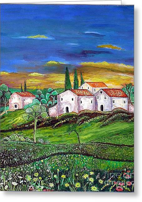 Tuscany Greeting Card by Kostas Dendrinos