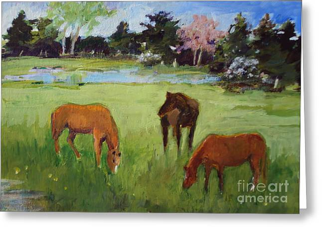 Two Chestnut One Bay Greeting Card by Diane Ursin