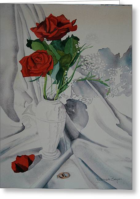 Greeting Card featuring the painting Two Roses by Teresa Beyer