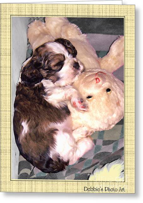 Two Stuffed Animals Greeting Card by Debbie Portwood