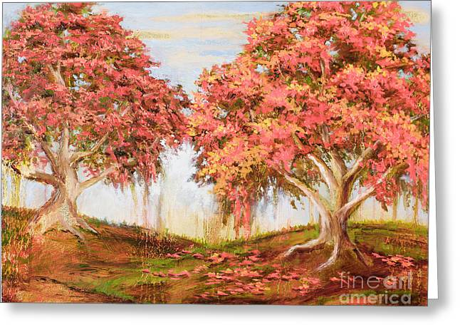 Under The Trees Greeting Card by Vic  Mastis