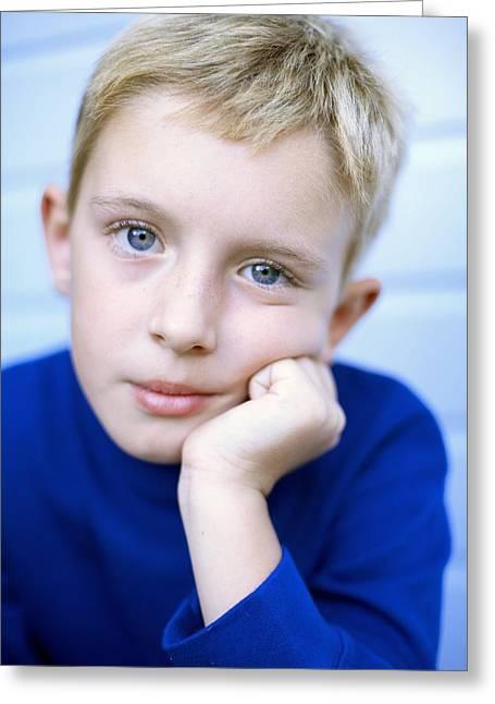 Unhappy Boy Greeting Card by Ian Boddy