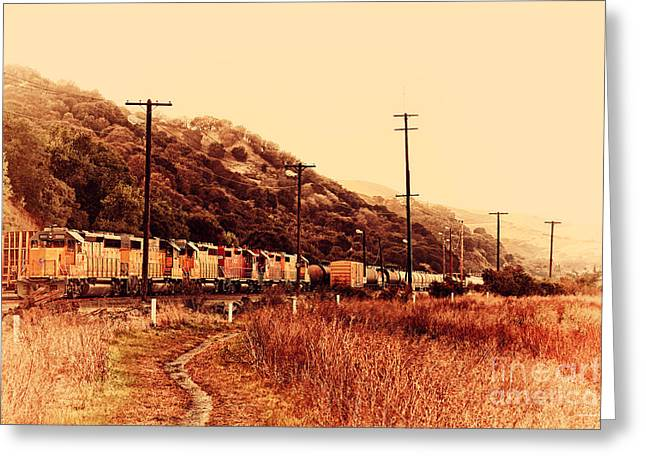 Union Pacific Locomotive Trains . 7d10558 Greeting Card by Wingsdomain Art and Photography