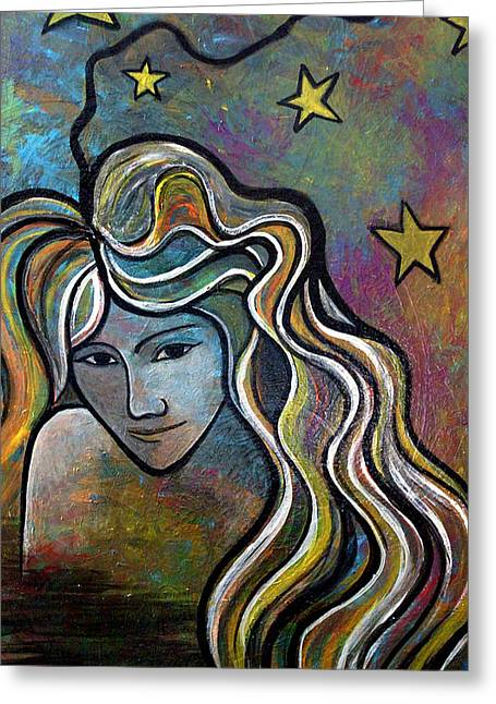 Greeting Card featuring the painting Untitled Girl by Monica Furlow