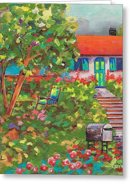 Up The Garden Path Greeting Card by Val Stokes