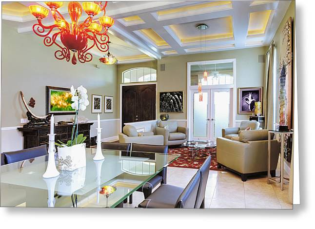 Upscale Dining Room Interior Greeting Card by Skip Nall