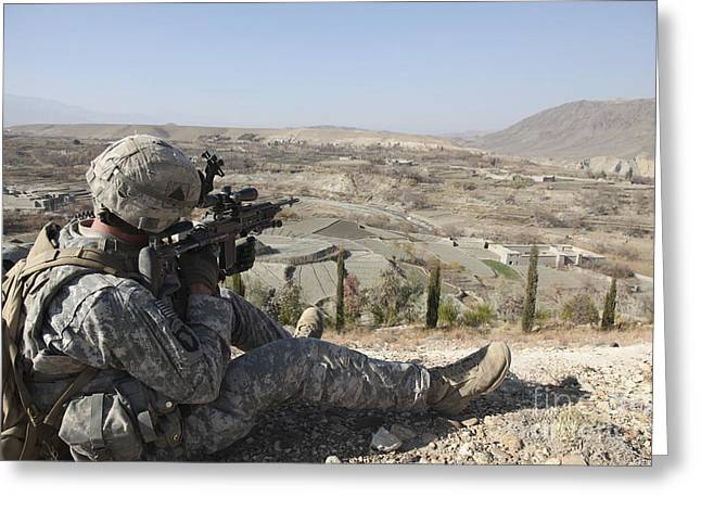 U.s Army Soldier Scans His Sector Greeting Card by Stocktrek Images