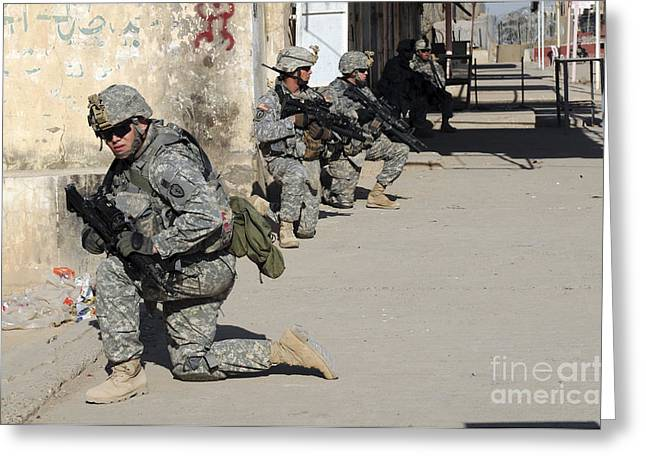 U.s. Army Soldiers Providing Security Greeting Card by Stocktrek Images