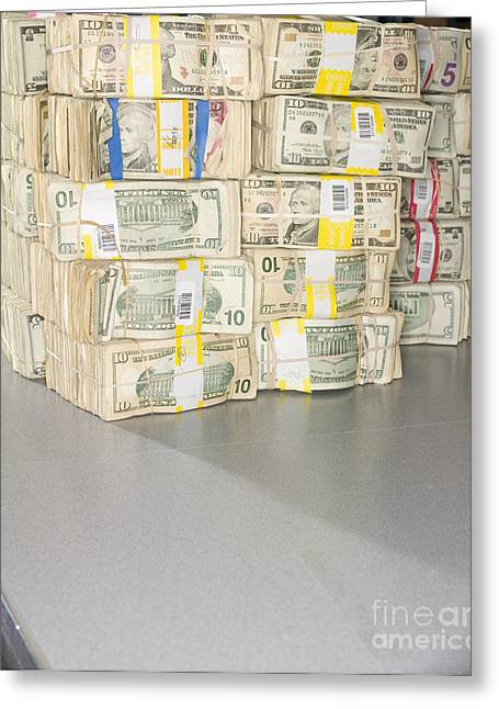 Us Bills In Bundles Greeting Card by Adam Crowley