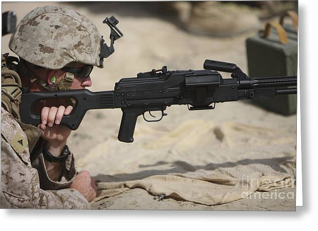 U.s. Marine Prepares To Fire A Pk Greeting Card