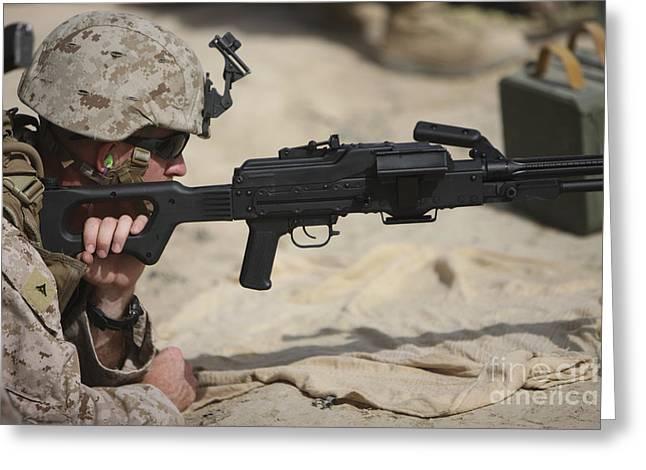 U.s. Marine Prepares To Fire A Pk Greeting Card