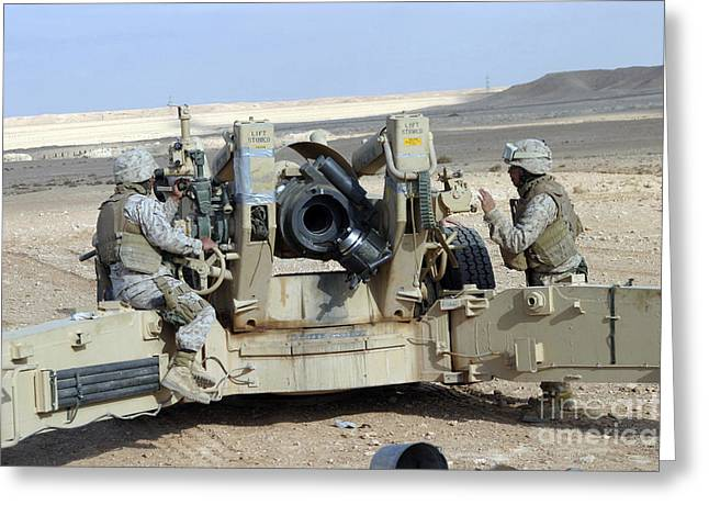U.s. Marines Prepare To Fire A Howitzer Greeting Card by Stocktrek Images