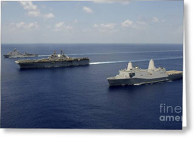 Uss Pearl Harbor, Uss Makin Island Greeting Card by Stocktrek Images