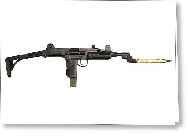 Uzi 9mm Submachine Gun With Attached Greeting Card by Andrew Chittock