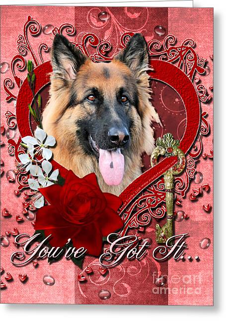Valentines - Key To My Heart German Shepherd Greeting Card by Renae Laughner