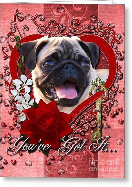 Valentines - Key To My Heart Pug Greeting Card by Renae Laughner