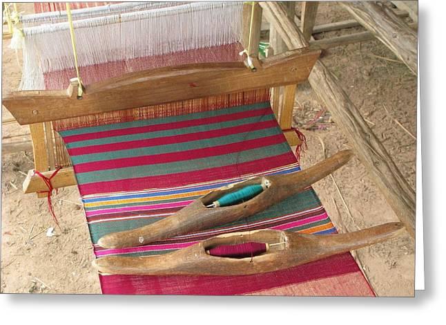 Various Threads On Weaving Loom Greeting Card by Bjorn Svensson
