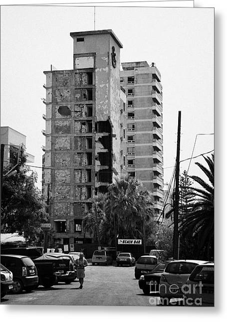 Varosha Forbidden Zone With Salaminia Tower Hotel Abandoned In 1974 Turkish Invasion Famagusta Greeting Card