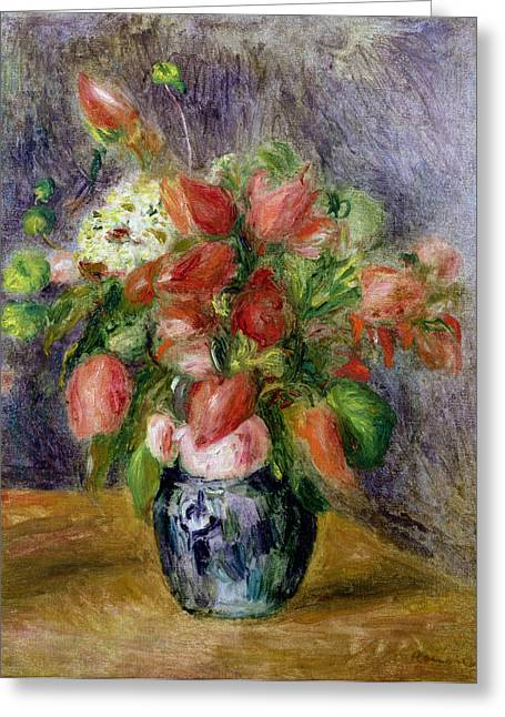 Vase Of Flowers Greeting Card by Pierre Auguste Renoir