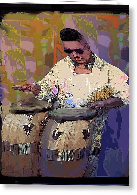 Venice Beach Drummer Greeting Card by Alice Ramirez