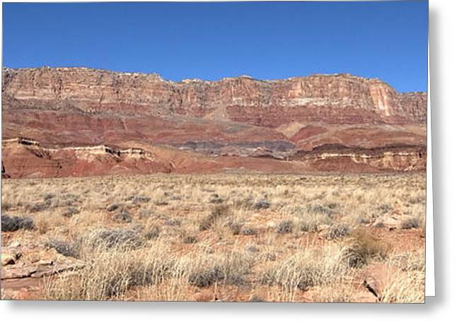 Greeting Card featuring the photograph Vermillion Cliffs Panorama by Bob and Nancy Kendrick
