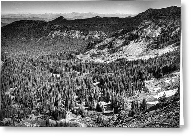 View From Sourdough Ridge On Mt Rainier Greeting Card