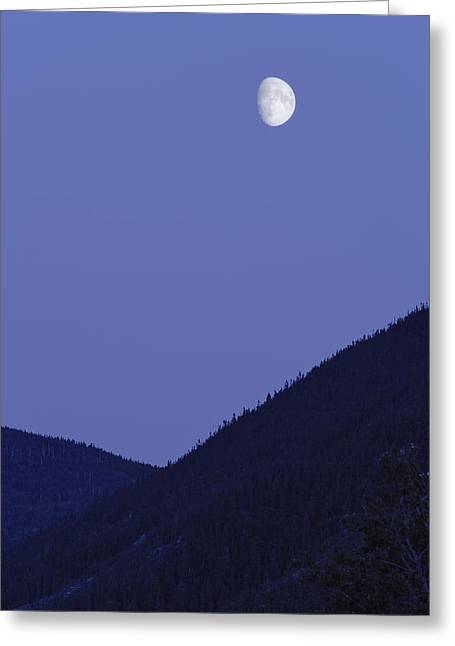 View Of Moon And Mountains, Gaspesie Greeting Card by Yves Marcoux
