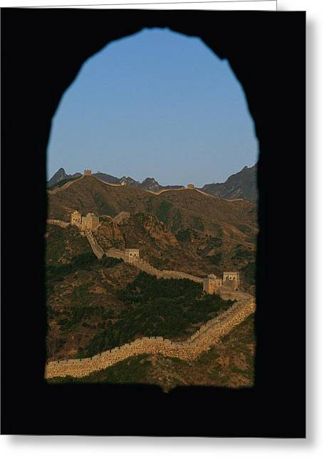 View Through A Window Of The Great Wall Greeting Card