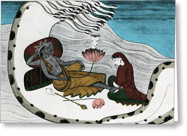 Vishnu And Lakshmi Greeting Card by Photo Researchers