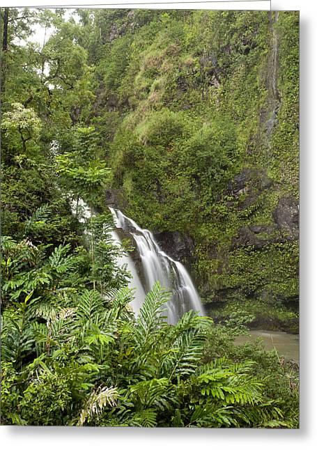 Waikani Falls Greeting Card by Jenna Szerlag