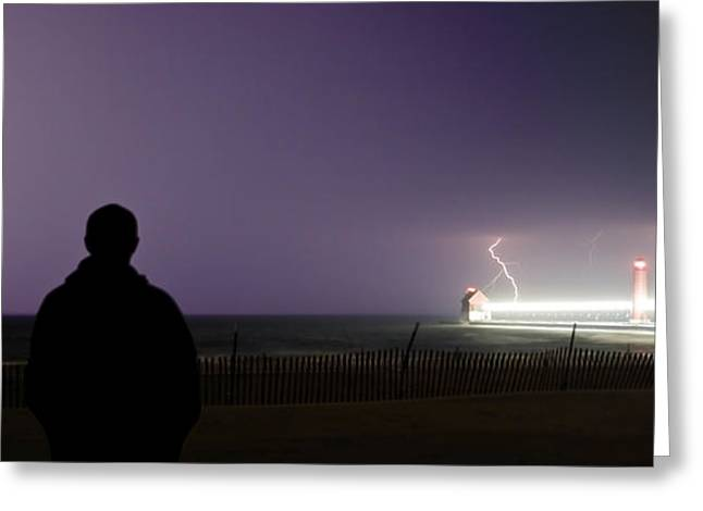 Watching A Lightning Storm Greeting Card by Jeramie Curtice