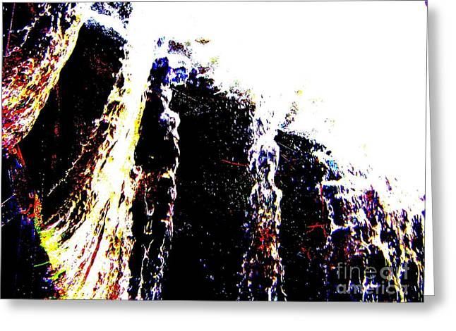 Greeting Card featuring the mixed media Water Falls by Rogerio Mariani