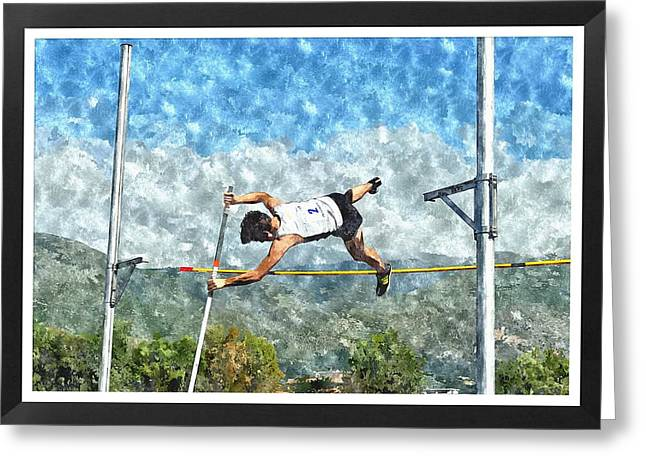Watercolor Design Of Pole Vault Jump Greeting Card by John Vito Figorito