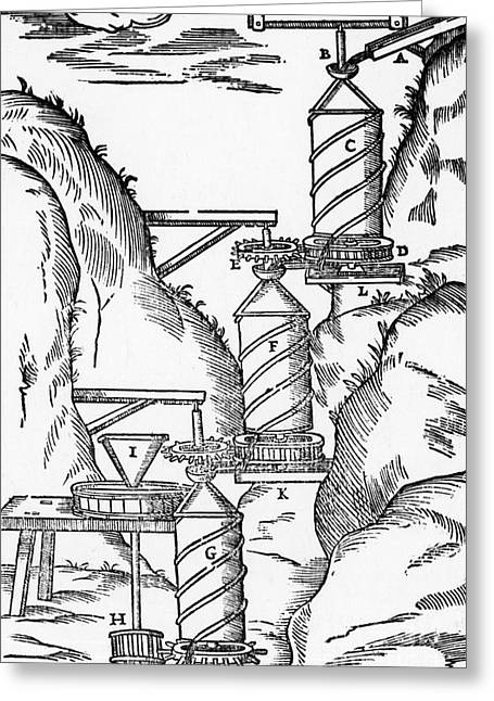 Watermill, Reversed Archimedean Screw Greeting Card by Science Source