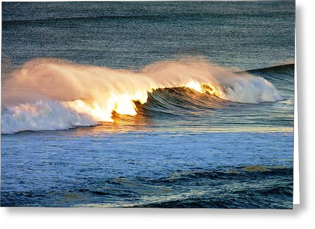 Wave At Sunrise Greeting Card