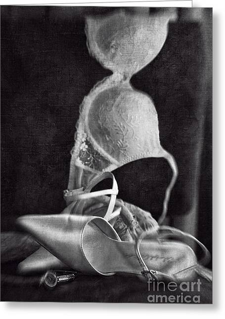 Wedding Shoes And Under Garments On Chair Greeting Card by Sandra Cunningham