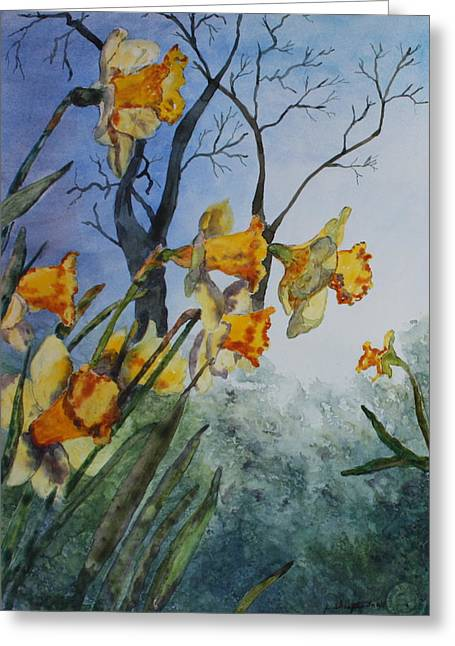 Greeting Card featuring the painting Welcome Springtime by Patsy Sharpe