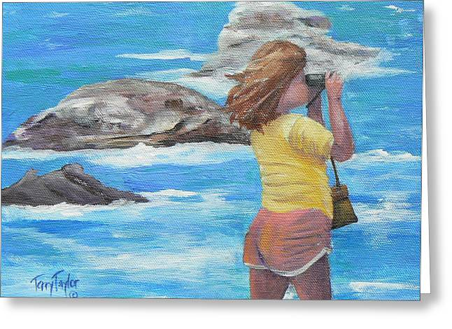 Greeting Card featuring the painting What's Out There by Terry Taylor