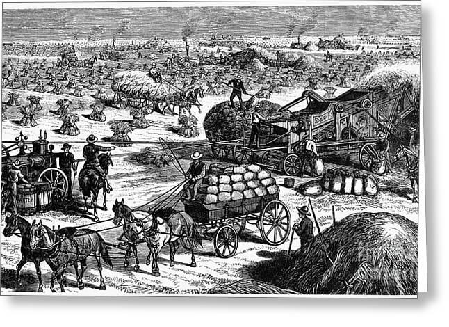 Wheat Thresher, 1878 Greeting Card by Granger