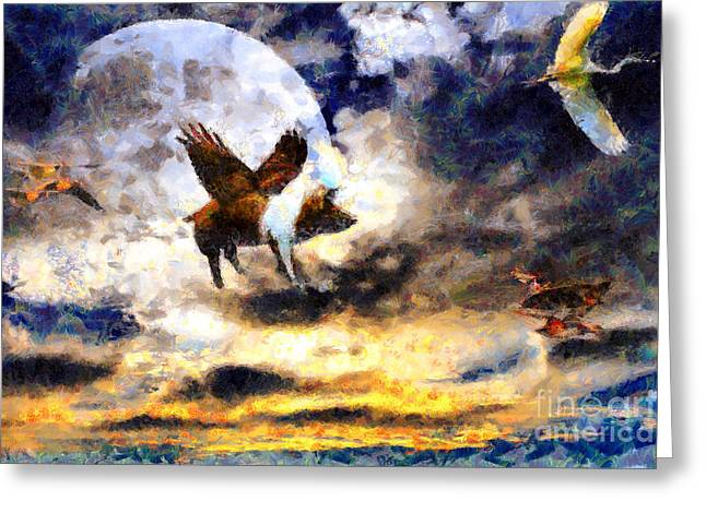 When Pigs Fly Greeting Card by Wingsdomain Art and Photography