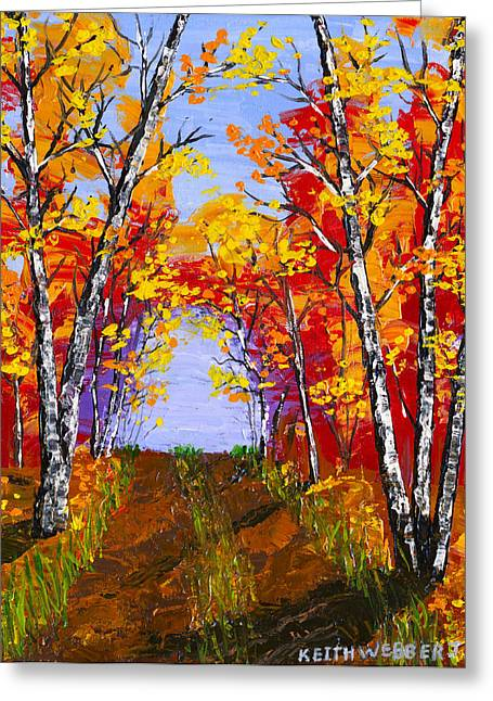 White Birch Tree Abstract Painting In Autumn Greeting Card by Keith Webber Jr