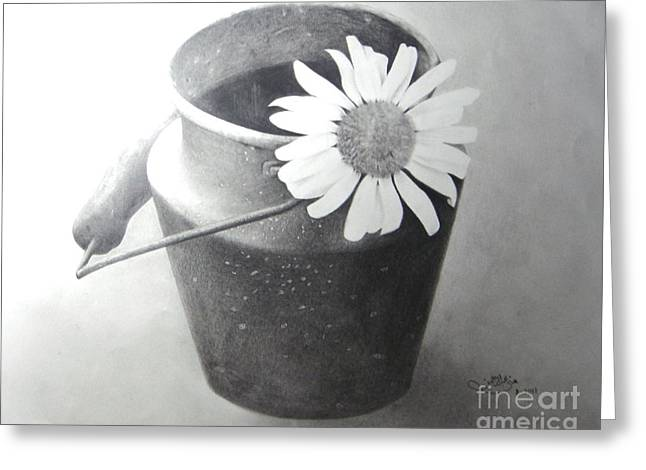 White Daisy Greeting Card by Muna Abdurrahman