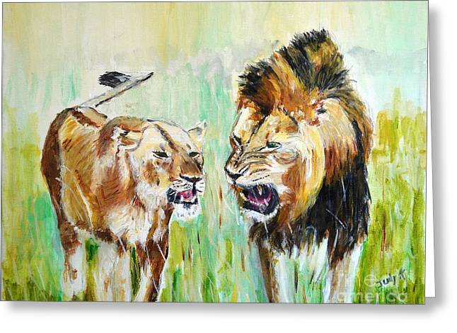 Greeting Card featuring the painting wild Kingdom by Judy Kay