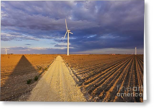 Wind Turbine Shadow Greeting Card by Jeremy Woodhouse