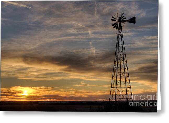 Windmill And Sunset Greeting Card by Art Whitton