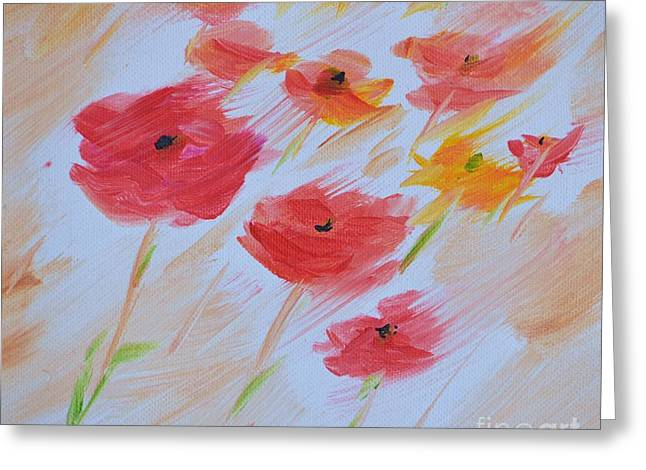 Windy Poppies No. 2 Greeting Card by Barbara Tibbets